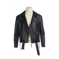 Фильм Терминатор 2: T800 Косплей Костюмы Терминатор Куртки Черный PU Кожаная Куртка Мотоциклетное Пальто для мужской одежды