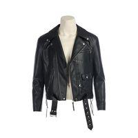 Movie Terminator 2: T800 Cosplay Kostüme Terminator Jacken Schwarz PU Lederjacke Motorrad Mantel fot Herrenbekleidung