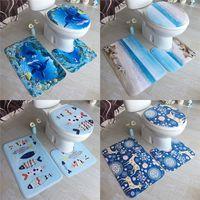 2019 Nueva 3 piezas de alfombras de baño Océano Mundo Submarino Anti Slip Mat Alfombras de baño Set polar de coral piso lavable alfombras de baño Cuarto de baño WC