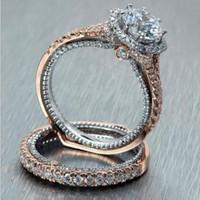 Mode rose gouden ringen voor vrouwen dubbele dunne ring set verlovingsring zirconia trouwringen paar voor vrouwen sieraden cadeau A0244