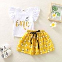 2020 Moda Sevimli Yenidoğan Bebek Bebek Giysileri Setleri Kız 1st Doğum Günü Tops T-shirt + Tutu Etek Elbise Prenses Kıyafetler Boyutu 0-24 M