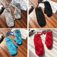 겨울 니트 장갑 여성용 장갑 매달려 밧줄 솔리드 컬러 솔리드 및 부드러운 도매 8 색
