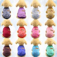 Brasão Dog Pet malhas camisola do velo espessamento suave Pup Quente Cães Camisa de Inverno Pet Dog Clothes Cat Soft filhote de cachorro Customes roupa