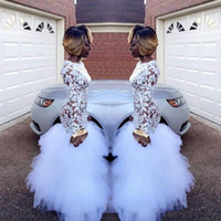 African White Mermaid Lace Prom Dresses for Black Girls Long...