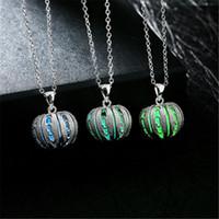 Resplandeciente orbe collar colgante calabaza de Halloween que brillan en la joyería azul oscuro Verde Violeta Celeste Luna regalos muchacha de las mujeres