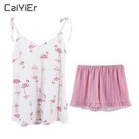 Женские пижамы Caiier 2021 Sexy Hotte Pajama Pajama Pink Flamingos Летняя ночная кость Sling V-образным вырезом без рукавов Cami Tops Shorts