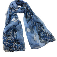 Women Butterflies Printing Scarf Ladies Summer Spring Thin B...
