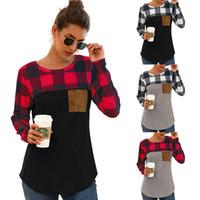 Женщины плед лоскутное футболка с длинным рукавом толстовка дамы весна осень повседневная пуловер блузка рубашка девушки карманные топы LJJA3479-13