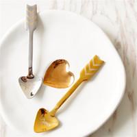 الفولاذ المقاوم للصدأ سهم كيوبيد ملعقة الإبداعية رسالة طباعة حب القلب القهوة حلويات الفاكهة ملعقة أطباق المائدة أدوات المطبخ HHA766
