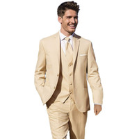 2019 Smoking da sposa beige Slim Fit Groom Suit Side Vent Custom Made Groomsmen Prom Party Suit (Giacca + Pantaloni + Vest) Custom Made