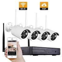 4CH نظام الدوائر التلفزيونية المغلقة اللاسلكية 1080P NVR 4PCS 2.0MP IR في الهواء الطلق P2P WiFi IP CCTV الأمن كاميرا نظام مراقبة