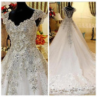 Real Photos Tulle A Line Wedding Dress V Neck Bling Beading ...