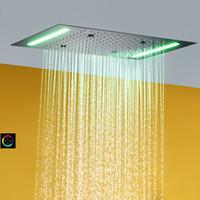비와 분무 욕실 샤워 헤드 100V ~ 240V 교류 전류 LED 터치 스크린 제어 목욕 최고 샤워 믹서 수도꼭지 세트