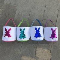 Lentejuelas cesta de Pascua lienzo Pascua Cubo con el diseñador de conejo y la cola del caramelo bolsas de mano Niños del bolso DIY Pascua lindo regalo del partido Decoración