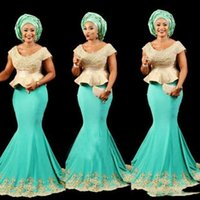 202 Aso Ebi Black Girls Mermaid Evening Gowns Scoop Cap Slee...