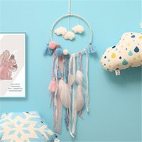JUXU nuages ​​feuilletés Dreamcatcher Feather Girl Catcher Réseau LED Dream Catcher Bed Room Hanging Ornament Cartoon Accessoires