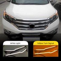 2PCS Car Headlight LED Eyebrow DayTime Running Light DRL med gult Turn Signal Light för Honda CRV 2012 2013 2014