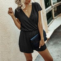 Romper Summer Casual Solid Jumpsuits Women V Neck Lace Up Sh...