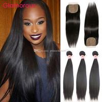 Coiffures droites brésiliennes glamour avec fermeture à soie doublure double Theft Virgin Holid Hair Extension de cheveux 3 Bundles avec fermeture 4pcs / lot