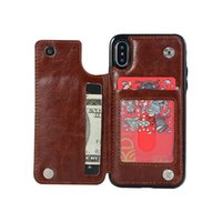 Для Iphone 11promax 11Pro 11 xsmax хт х 8р 8 6S 6sp случае телефон Crazy Horse Pattern случае держатель карты двойной пряжкой против падения