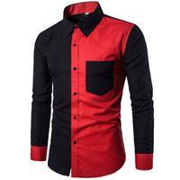 Kırmızı Siyah Patchwork Gömlek Erkekler 2019 Sonbahar Yeni Slim Fit Erkek Gömlekler Casual İş Sosyal Gömlek Erkek Hit Renk Chemise 3XL
