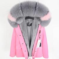 Lavish cinza pele de raposa guarnição de neve feminina casacos de pele de coelho cinza forro rosa mini parkas coelho peles mulheres jaquetas de peles