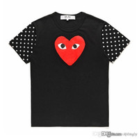 2018 COM Best Quality Black Nuovo gioco CDG unisex Gioca Casual Cotton Heart Homme Plus T-shirt manica corta basic Giappone Red Heart