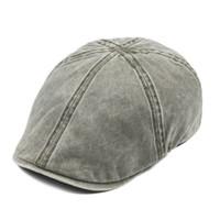 VOBOOM Pamuk Düz Şapka Bay Newsboy Cabbie Şapka Erkek Ivy Düz Hat Hafif Gatsby Bereliler Sürücü Boina 157 Caps Yıkanmış