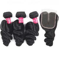 G 9a brésilien lâche Onde Virgin Hair Extensions en gros 3 4bundles avec 4x4 Dentelle Fermeture Curly vague profonde humaine Bundles cheveux avec Clo