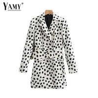 Vintage chic print women blazers and jackets women double br...