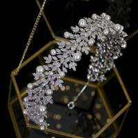 acessórios de cabelo do vintage tiara pérola elegante acessórios do casamento banda acessórios de cabelo de noiva Headpieces cocar