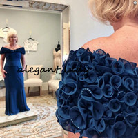 Off-the-Shoulder Long Dark Blue Mother of the Bride Dresses 2019 Plus Size 3D Floral Beaded Mother of The Groom Dress Formal Gown