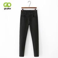 GoPlus Jeans mujer de cintura alta Jeans Negro tobillo de longitud lápiz de los pantalones Talla Grande Mujer Spodnie DAMSKIE Jean Taille Alta Hembra