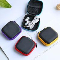 Caso de auriculares Auriculares cuero de la PU de la bolsa de la cremallera mini auriculares USB de la caja protectora del organizador del cable de la persona agitada Spinner bolsas de almacenamiento 5 Color CFYZ320Q