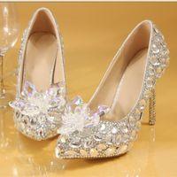 Plusgröße 35 bis 40 41 42 Weiseluxuxfrauen Designer Schuhe Dreamy Aschenputtel Kristall Hochzeit Schuhe Braut Strass Schuhe kommen mit Kasten