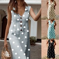 2019 donne di estate Dot Button stampa Boho Dress Ladies Turn-down tasca con scollo a V elegante abito da spiaggia donna casual vestidos