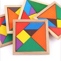 Legno Tangram 7 pezzo di puzzle colorato Piazza gioco IQ Rompicapo giocattoli educativi intelligenti per bambini