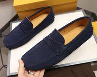 Luxe New Mens Mocassins Suede en cuir véritable Gommino Glissement robe de mariage Marche d'entraînement d'affaires T0d Chaussures Taille 38-45