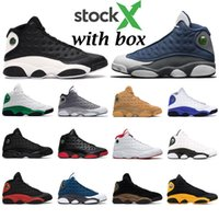 Mens basketball shoes 13s Flint 13 Island Green Black cat Br...