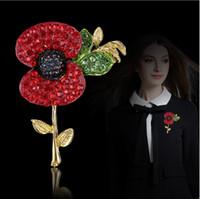 100% di alta qualità tono oro cristalli rossi brillanti moda britannica spille di papavero per il regalo del Regno Unito Remebrance Royal British Legion Flower Poppy