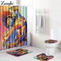 Europa retrato de banho de banho conjunto cortina de chuveiro para tampa de banheiro assento toalete anti deslizamento tapete macio para banheiro 4 pcs mathat conjunto de esteira