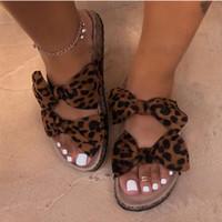 Yaz sandalet kadın Ayakkabı moda leopar Yay Bayanlar slaytlar dikiş Burnu açık rahat kadın ayakkabısı kadın konfor Flip flop 2020