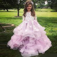 Charmante princesse fleur girls robes joyau manches longues à manches longues fleur à la main à la main Toddler pageant robe tulle longue gosse robe