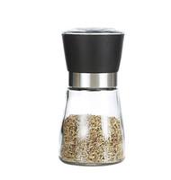 مطحنة الملح الفلفل الزجاج إبريق زجاجي مطحنة التوابل جرة السيراميك الأساسية أبيض أو أسود اللون