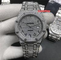 탑 다이아몬드 남자 부티크 시계 실버 다이아몬드 아랍어 디지털 패션 뜨거운 판매 인기있는 시계 자동 기계 스포츠 시계