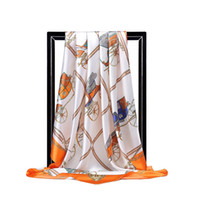 브랜드 디자인 높은 품질 핑크 레오파드 히잡 스카프 여성 실크 스카프 풀라 광장 헤드 랩 새로운 패션 어깨 걸이 제조 업체 90 * 90cm 91027