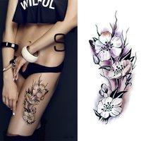 방수 임시 문신 스티커 섹시한 로맨틱 어두운 장미 꽃 헤너 가짜 바디 아트 플래시 문신 슬리브