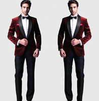 Burgundy Velvet Slim Fit Groom Tuxedos Wedding Suits Custom ...