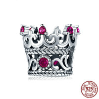 Original Charm Fit Bracelet 925 Sterling Silver Bead Light Red Zircon Crown Beads Jewelry Making Berloque guangzhou trading co ltd