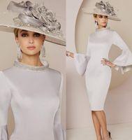 Современные серебряные платья матери невесты Кристалл бисера высокая шея с длинным рукавом плюс размер свадебное платье для гостей Дубай вечерние платья